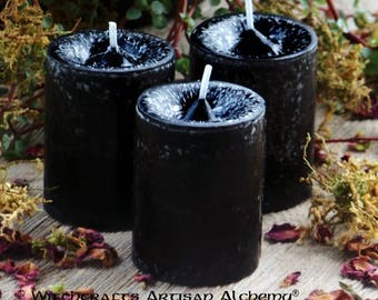 "WITCHES POWER™ ""Old European Witchcraft""™ Black Pillar Votive Candles with Dragon's Blood"