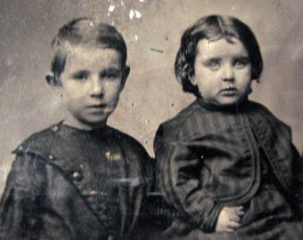 large tintype photograph of two young children - Victorian photo for mixed media projects