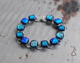 Electric Blue Silver Swirl Dichroic Glass Bracelet