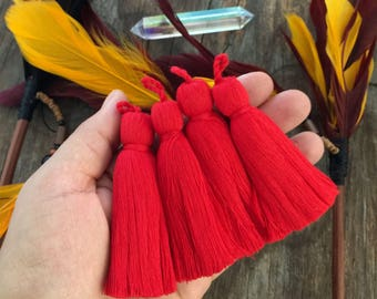 "Red, 3.5"" Luxe Cotton Tassels with Braided Loop, 2 pcs / Large Handmade Cotton Tassel, Jewelry Making, Adornments, Home Decoration, Supplies"