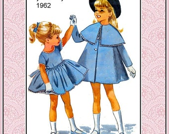 Vintage 1962-HELEN LEE Design Sewing Pattern- French School Girl MADELINE Style Coat with Capelet-Twirl Dress-Attached Petticoat-Size 3-Rare