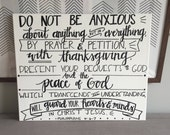 Philippians 4:6-7 Canvas--16 x 20, Chalkboard Style, Handlettered