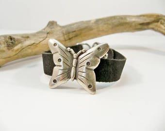 Black Leather Bracelet, Silver Butterfly Bracelet, Silver and Leather, Gift for Her, Silver Bracelet