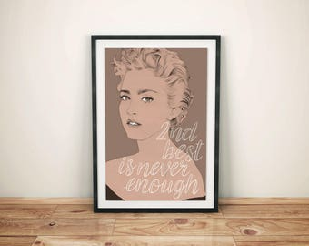Madonna A3 Poster // girl power, song lyric print, gift for her, 80s poster, Madonna portrait drawing, girls bedroom decor, feminist art