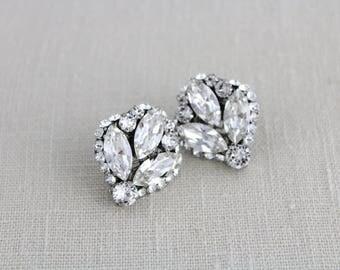 Crystal Bridal Earrings, Rhinestone Wedding earrings, Crystal Stud earrings, Bridal jewelry, Vintage style earrings, Swarovski earrings
