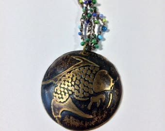 Fish Necklace, Etched Brass Koi, Beaded Necklace  - Free Domestic Shipping