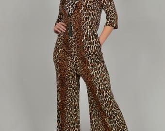 Leopard Lingerie, Leopard Jumpsuit, Vintage Lingerie, Vintage Lounge Wear,  1960s Vintage Clothing, Leopard Sleepwear, 60s Lingerie,
