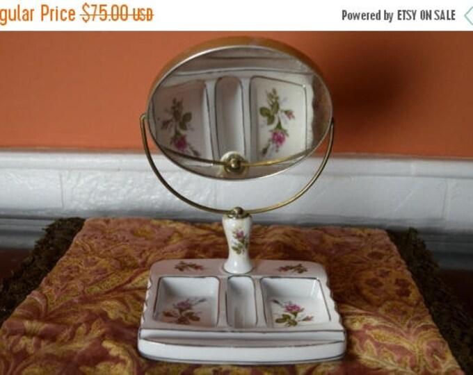 sale Vanity Make Up Mirror, Vintage Vanity Set, Ornate Dresser Set, 50s Vanity Set, Hand Painted Roses, Bathroom Vanity, Bedroom Decor,