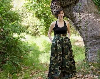 Camouflage Maxi Skirt, High Waist Cotton Full Skirt, Camo Long Skirt with Pockets, Army skirt, Plus Sizes available