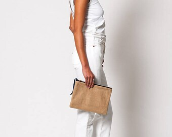The Desert Tan Suede Clutch Pouch Purse