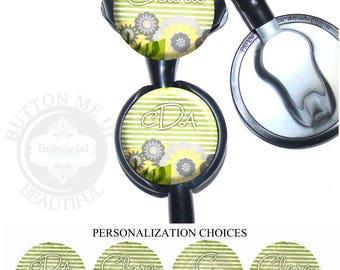 "1 1/2"" Design Stethoscope ID Tag - Personalized FIower Field on Green Stripes Nurse Littmann Identification (A450)"