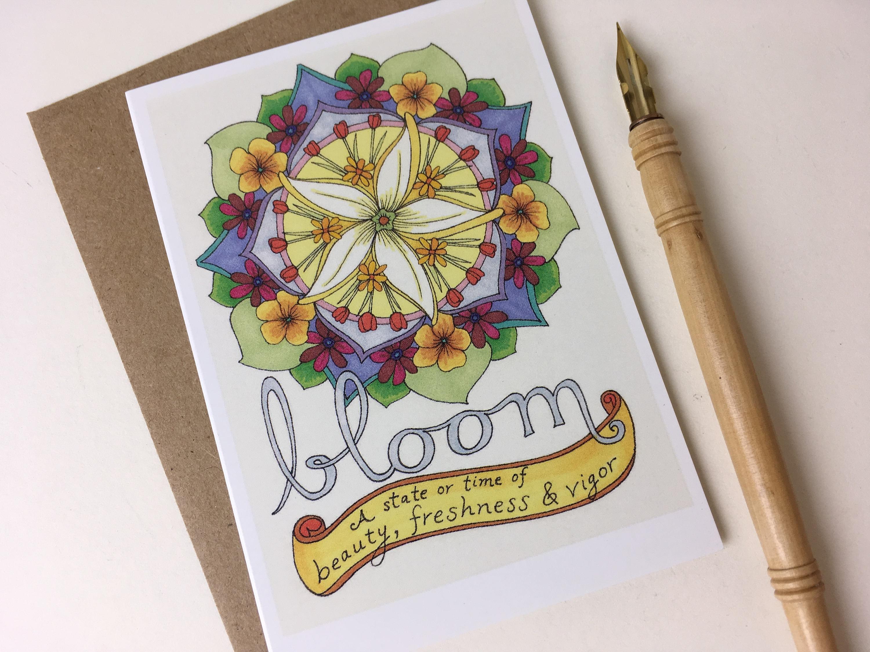 Bloom Cards Floral Cards Folded Greeting Cards Envelopes Blank