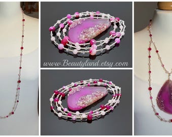 Mother's Day Gift Long beaded necklace for women pink boho long necklace with pendant gift for wife adjustable gemstone necklace gift idea