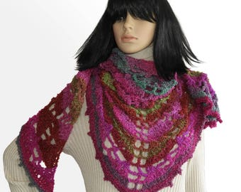 Crochet Lace, Shawl, Wrap, Scarf, Triangular Crochet Women's Shawl Wrap in magenta pink green tones