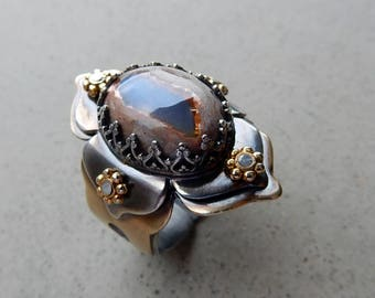 Lotus Ring with Purple Red Mexican Fire Opal, Adjustable Size, Passion, Personal Power, Protection, Sacral, Solar Plexus Chakra, Kundalini