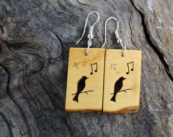 Song Bird Earrings, Natural Wood Earrings, Black Bird Earrings Carved On Boxwood, Music Lovers & Bird Lovers Gifts, Earthy Wood Jewelry.