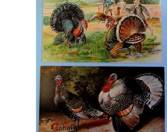 Antique Thanksgiving Postcards, Set of 2 Turkey Postcards, Vintage Thanksgiving Postcards, FREE Shipping USA