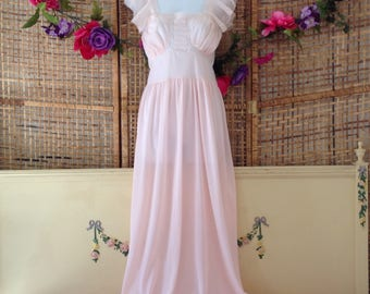 Vintage 50's Pastel Pink Frilly Long Nightgown Pleated Sheer Chiffon Lace Sz 34