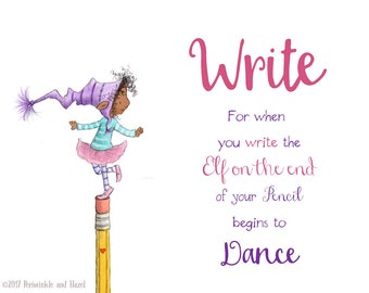 WRITE- It Makes Elves Dance - African American Elf Art - Art Print