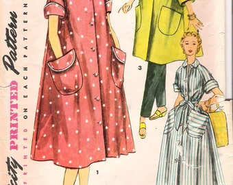 Simplicity 4471 1950s Misses Robe in Two Lengths with Large Patch Pockets Vintage Sewing Pattern Bust 32 Simple to Make