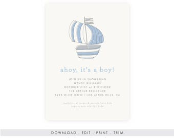 Nautical Boy Baby Shower Invitation | Sailboat Baby Shower, Nautical Baby Shower, Printable Template, Instant Download, PDF,