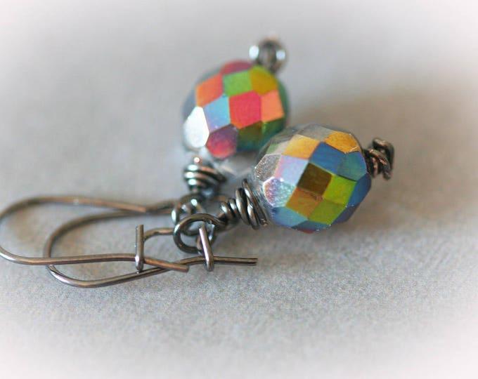 Vitrail Glass Dangle Earrings. Petite Rainbow Color Drop Earrings.