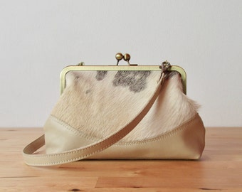 Nude Cowhide Clutch with strap