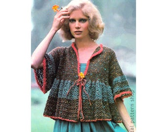 Crochet Pattern Boho Top Womens Smock Jacket Sweater Instant Download PDF Pattern