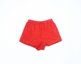 70s Terry Cloth Shorts High Waisted 1970s Daisy Dukes High Waist Beach Bottoms Charlies Angles Red Retro Cover Up Beachwear Extra Small
