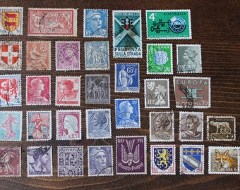 34 French Italian Australian Stamps