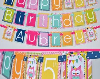 Night Owl Sleepover Birthday Party Banner Fully Assembled | Slumber party | Sleepover Party | Owl Birthday | Nightowl Slumber Party |