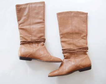 1970s Brown Leather Boots - 6M