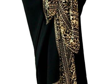 PLUS SIZE Women's Clothing Wrap Skirt or Dress - Extra Long Beach Sarong Cover Up Plus Size Swimwear - Black Batik Pareo - Plus Size Skirt