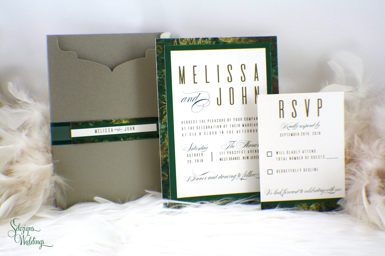Emerald Green Wedding Invitation | Modern Wedding Invitation ...