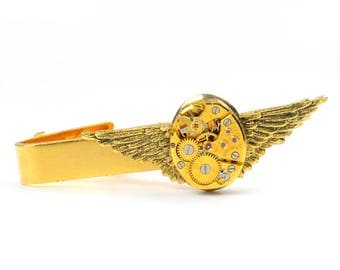 Steampunk  Vintage Gold Bulova Watch Movement and Angel Wing Tie Bar Alligator Clip