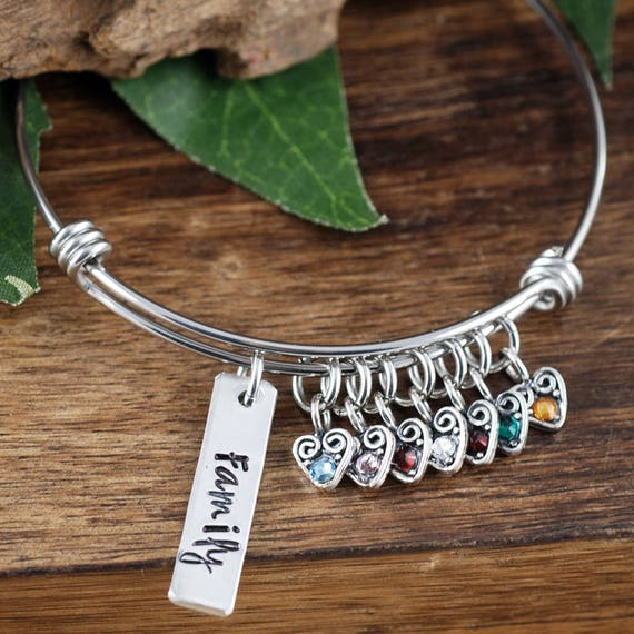 Personalized Family Bracelet, Family Tree Bracelet, Mother's Birthstone Bangle Bracelet , Bar Jewelry, Mother's Day Gift, Gift for Grandma