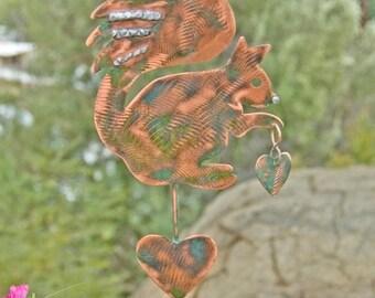 SALE Squirrel Decor Garden Stake / Metal Garden Art / Yard Art / Copper Art / Squirrel Garden Sculpture / Outdoor Metal Art / Squirrel Spike