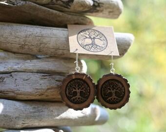 Wooden Tree Earrings- Wooden Earrings- - Natural Wood Jewelry- Eco Earrings