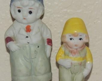 2 old Bisque DUTCH Boy Figurines