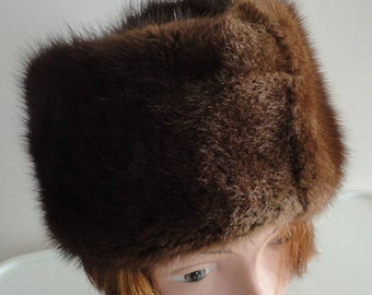 60s Brown raccoon fur  Men/Women Hat Cossak Style Size 6 3/4 Small 21 1/4 inches