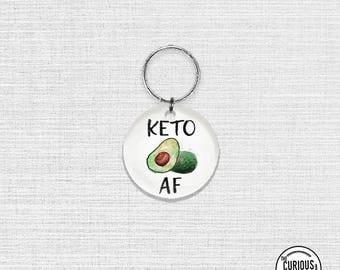Keychain KETO AF avocado Funny Keto Diet , Key Chain Key Ring Acrlic Round