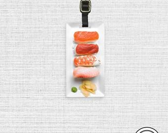 Luggage Tag Sushi Nigiri Food Printed Personalized Luggage Tag | Metal Tag with Custom Backs Single Tag