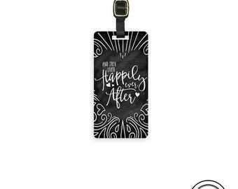 Luggage Tag Happily Ever After Chalkboard effect Metal Luggage Tag With Custom Info On Back, Single Tag