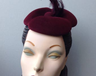Flower Feather Fascinator Headband, Handblocked Merlot Wine Velour Felt Flower Fascinator with Feather Trim