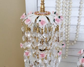 Shabby chic chandelier etsy shabby clip on crystal waterfall lamp shade chic glass prisms cottage pink porcelain roses rhinestones mozeypictures Images