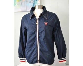 Cutest Tennis Jacket Vintage Ladies by Weather Tamer 60s 70s Navy Blue Bright Red Ladies