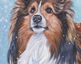 "sable Shetland Sheepdog SHELTIE PORTRAIT dog art print of LAShepard painting 8x10"""