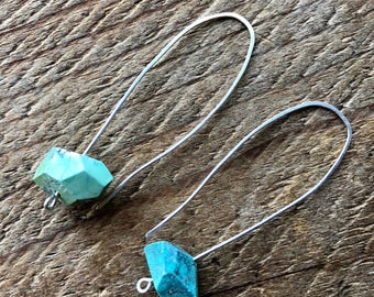 Sterling Silver Open Hoop Earrings with Large  Turquoise Nuggets