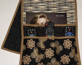 Quilted Armchair Caddy, Bedside Caddy, Butterflies, Black, Beige, Gold