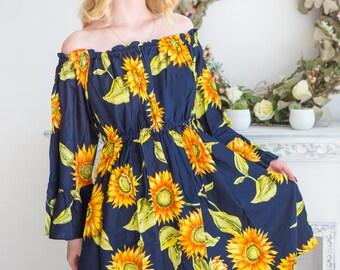 Navy Blue Sunflower off shoulder Shift Dress| Summer Dress| Workwear| Sundress| Tunic| Boho Dress| Short Dress| Street Style| Short Dress